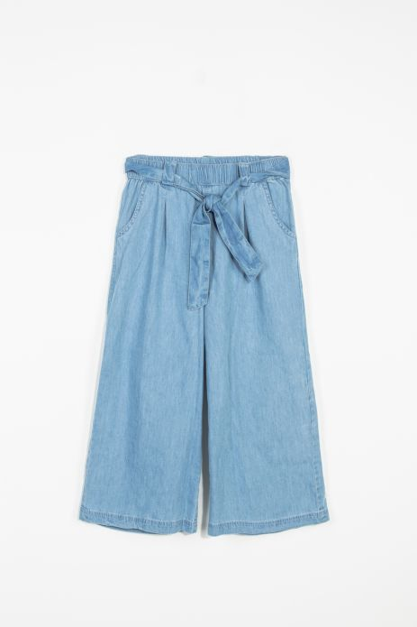 Cropped woven culotte trousers