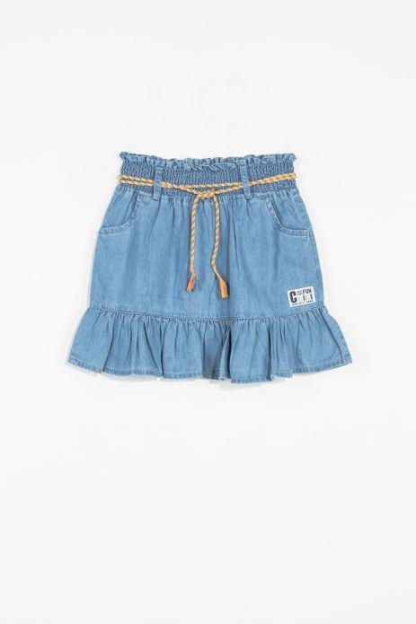 Denim skirt with bottom frill