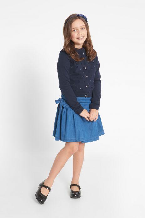 Denim skirt with bows
