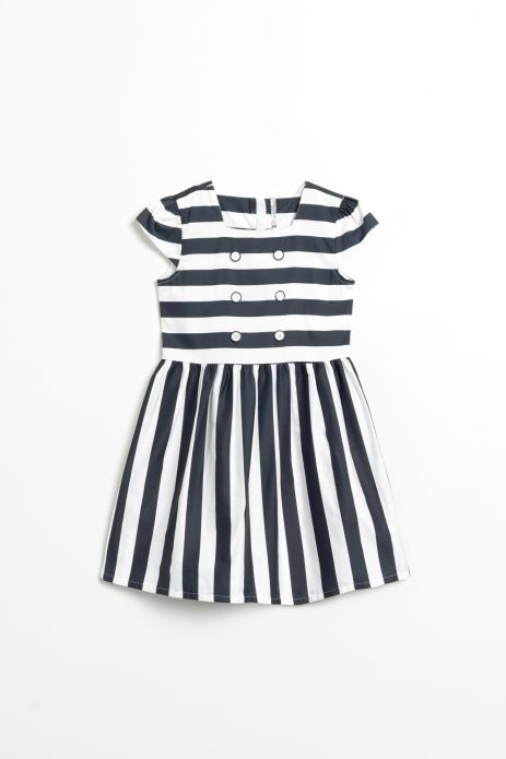 Woven dress in stripes with cotton lining