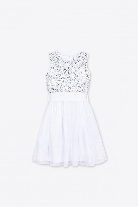 Woven dress with a bow and cotton lining