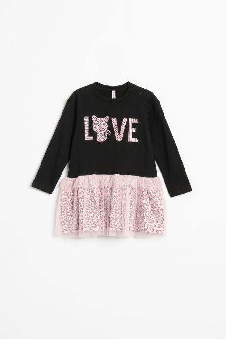 Knitted dress with tulle bottom and cotton lining