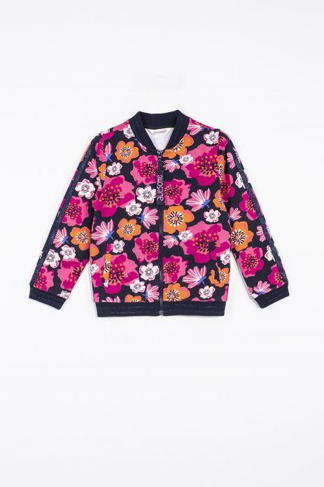 Bluza rozpinana w kolorowe kwiaty wykończona ściągaczami