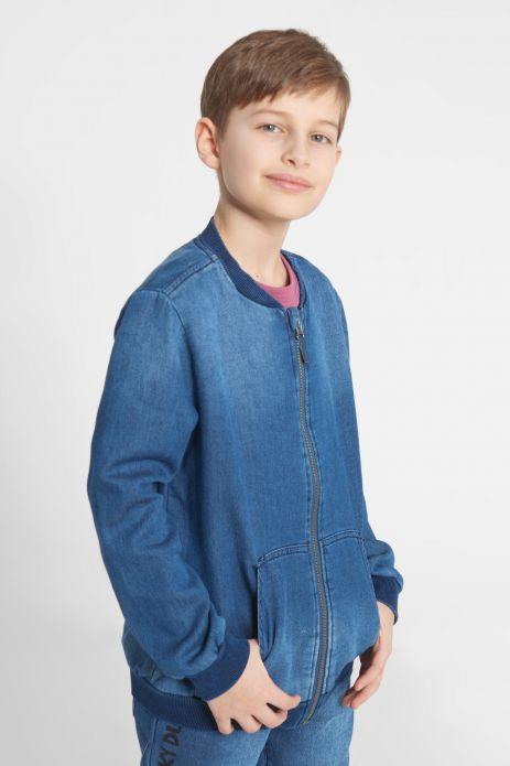 Denim sweatshirt with zipper