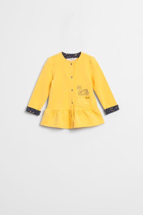 Yellow sweatshirt with zipper and bottom frill