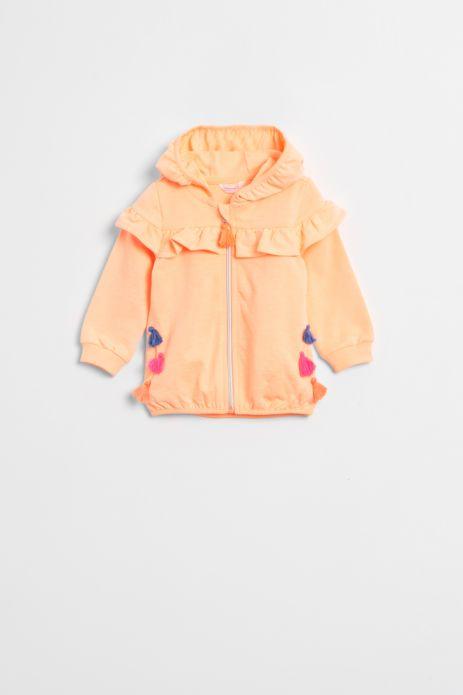 Sweatshirt with hood, zipper and tassels