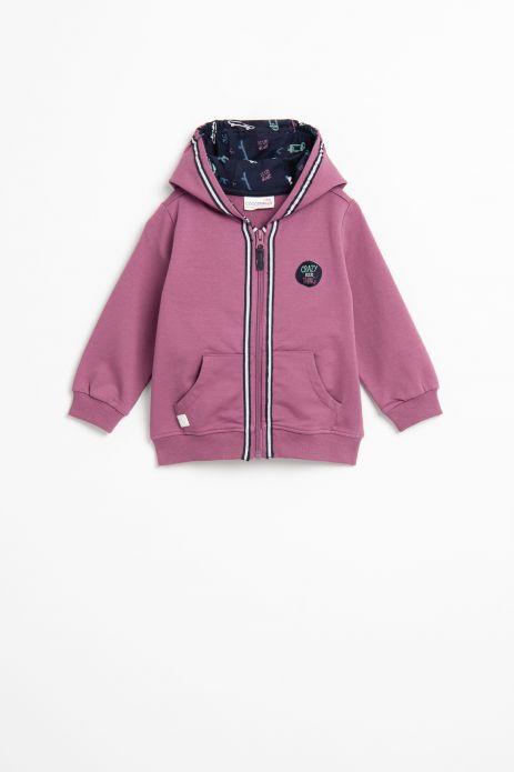 Sweatshirt with zipper and print