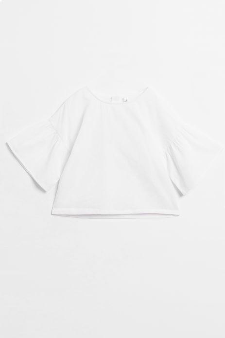 Woven blouse with wide frill sleeves and cotton lining