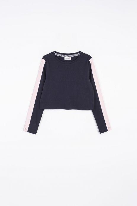 Bluza crop top w kolorze czarnym z lamówkami