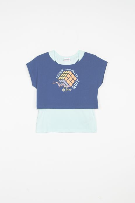 2-piece t-shirt (crop top + tank top)