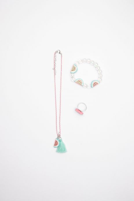 Necklace, bracelet and ring